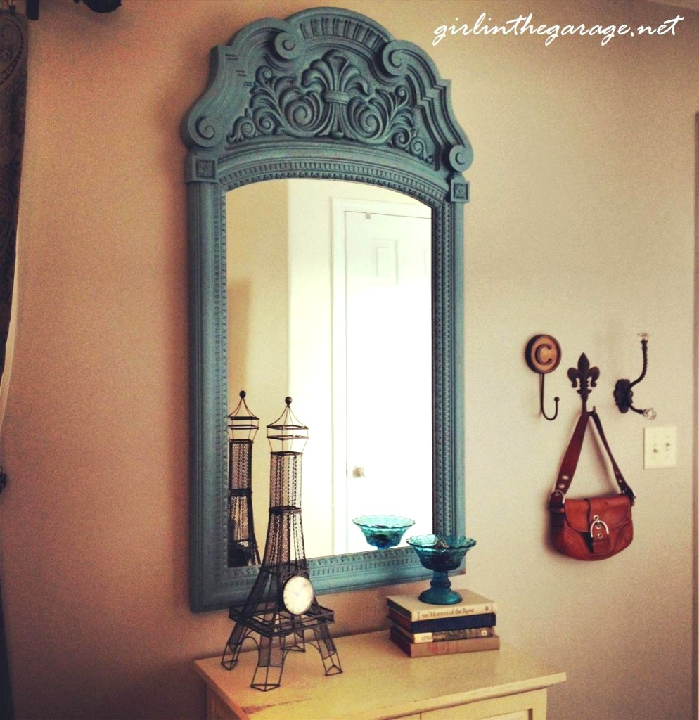 Bold color update for living room mirror by Girl in the Garage