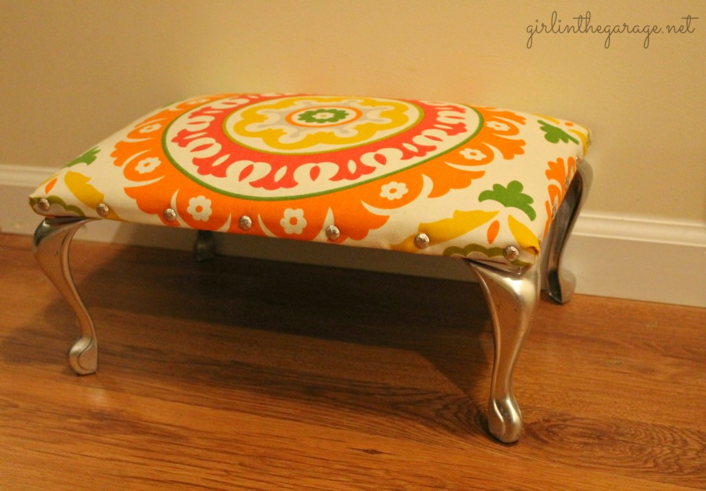 Footstool makeover by Girl in the Garage