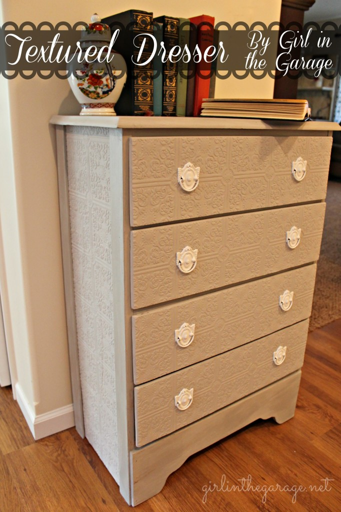 A plain dresser gets a makeover with paintable wallpaper, Annie Sloan Chalk Paint, and spray paint.