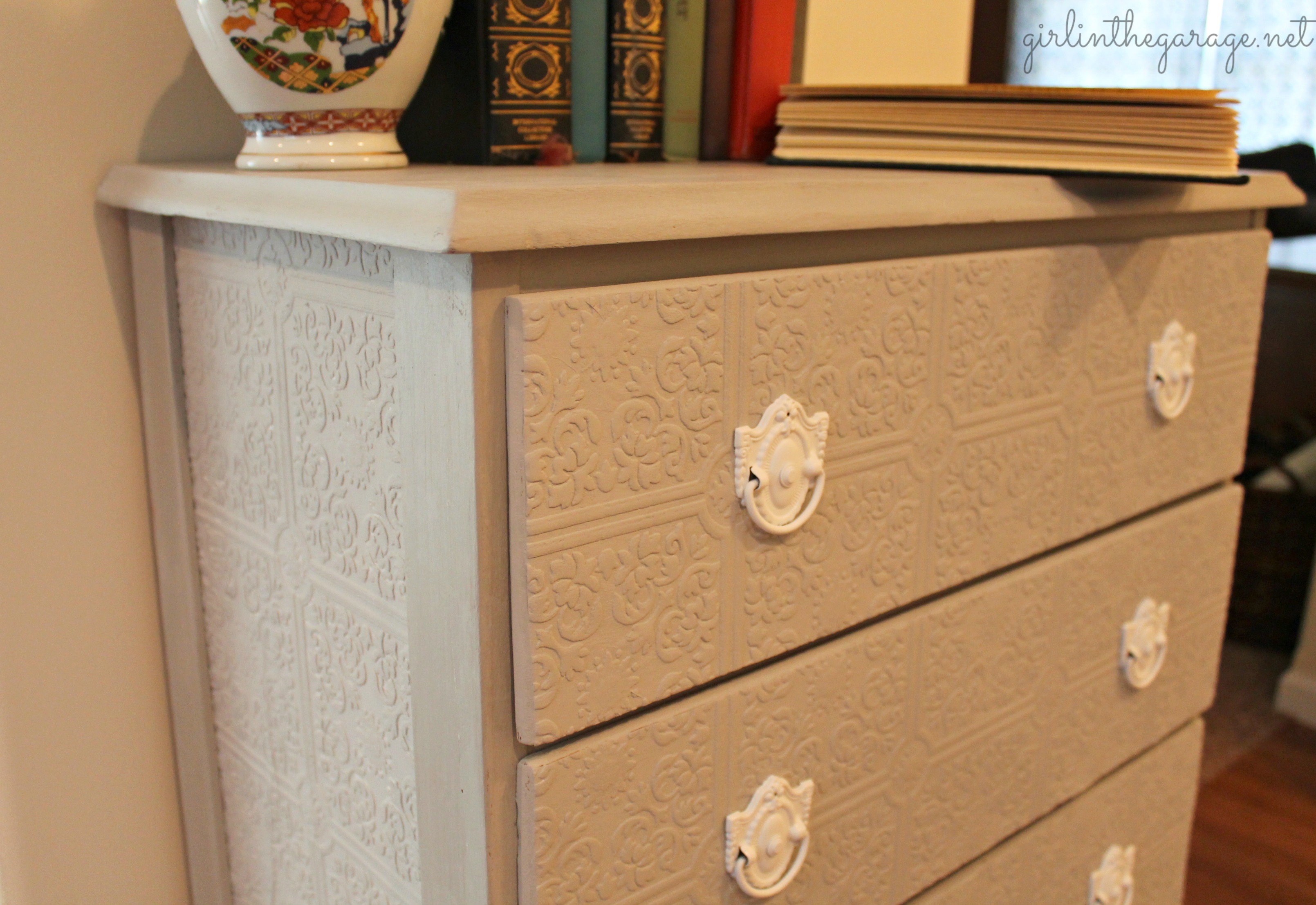 A plain dresser gets a makeover with paintable wallpaper, Annie Sloan Chalk Paint, and
