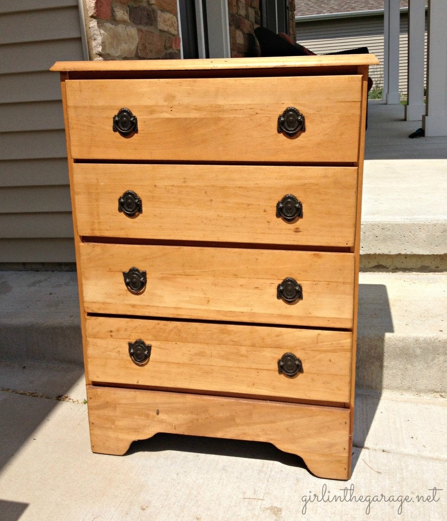 BEFORE:  A plain dresser gets a makeover with paintable wallpaper, Annie Sloan Chalk Paint, and spray paint.