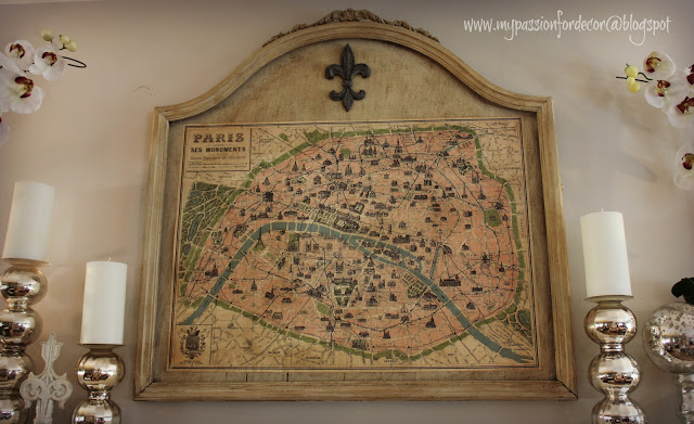 Broken mirror turned into frame for vintage Paris map by My Passion for Decor