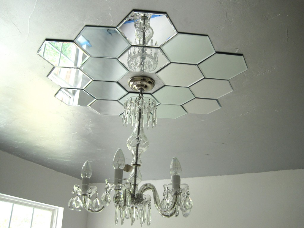 Mirrored ceiling medallion from candle plates by Faux Daddy Designs