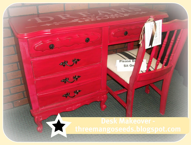 Red desk makeover by Three Mango Seeds