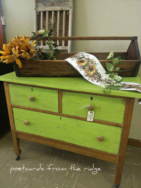 Spring green vintage dresser by Postcards from the Ridge