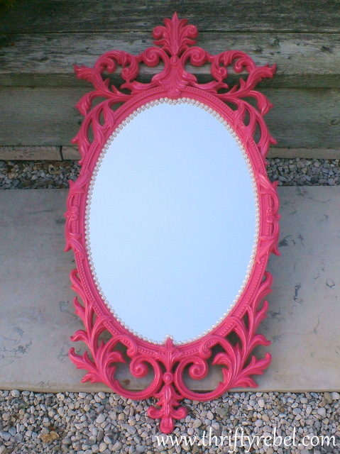 Pink and pearl mirror makeover by The Thrifty Rebel