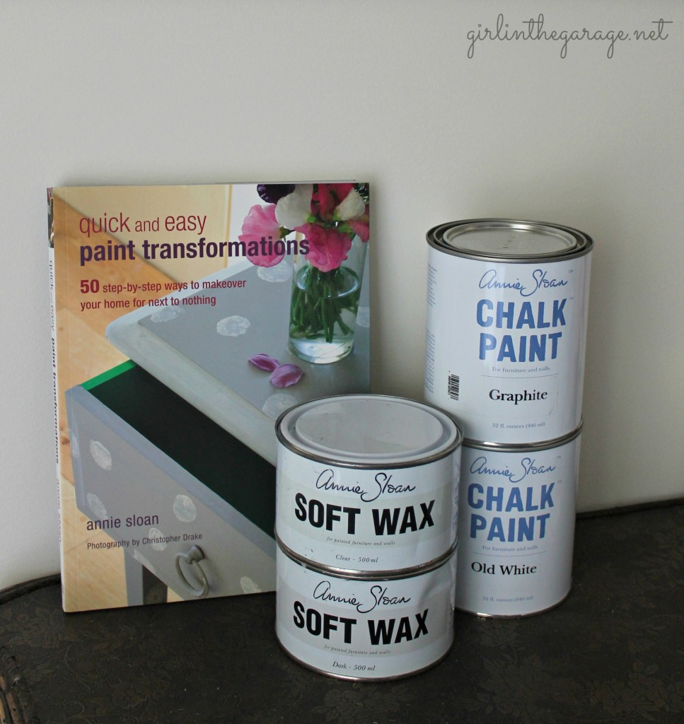 Gorgeous striped vanity makeover and a review of Annie Sloan Chalk Paint. Also how to use clear and dark wax on furniture.
