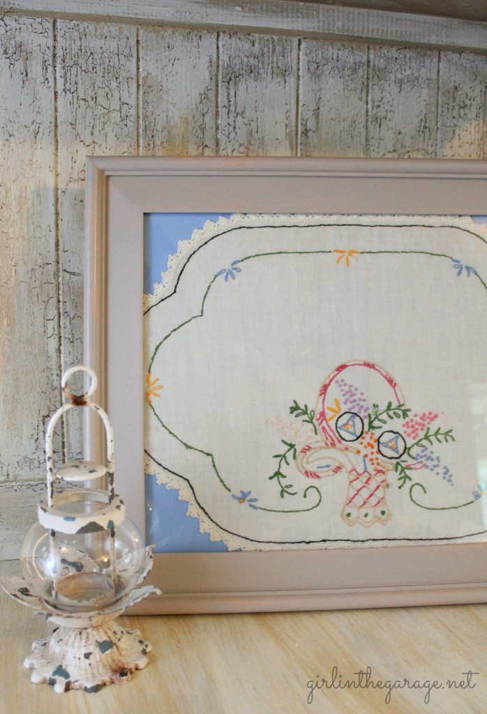 Vintage handkerchief framed as art... So pretty!