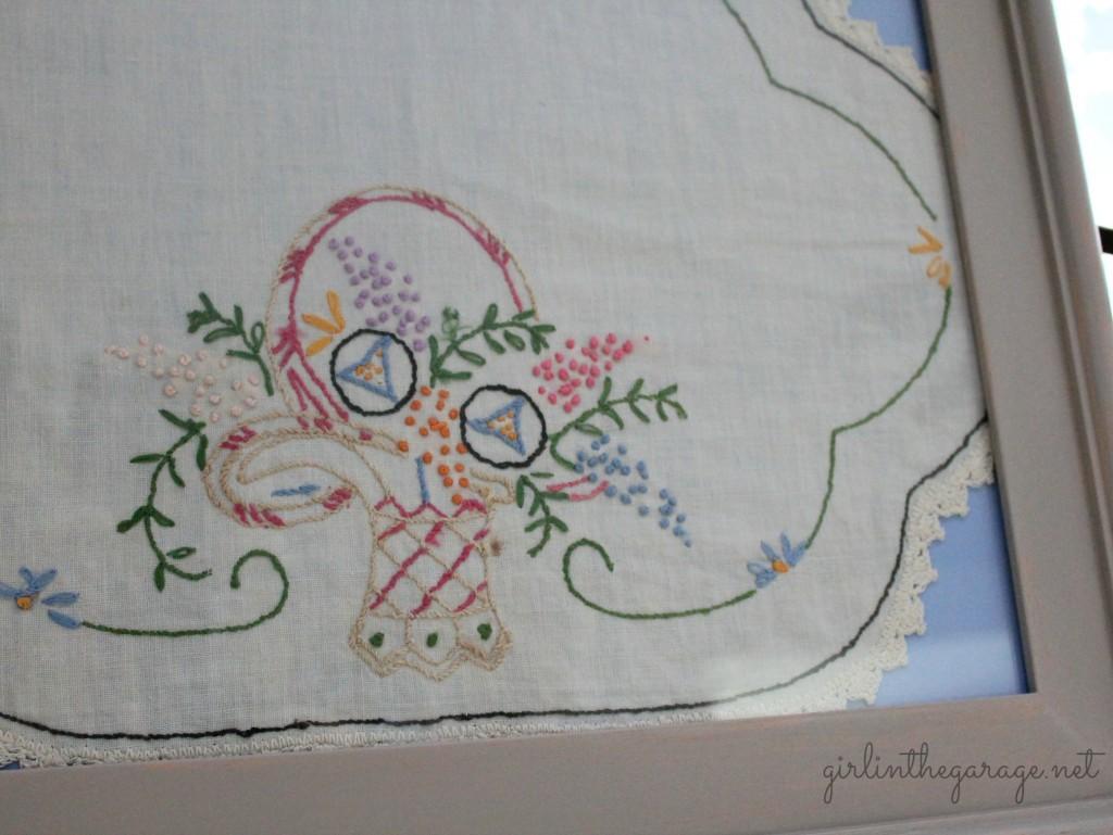 Vintage handkerchief framed as art.