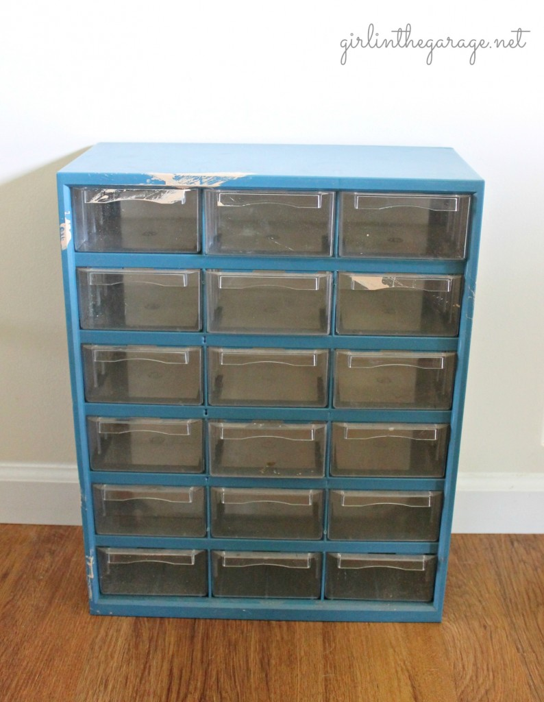 BEFORE: {Filthy to Fancy} Organizer Makeover. A dirty hardware organizer gets a fancy French makeover.