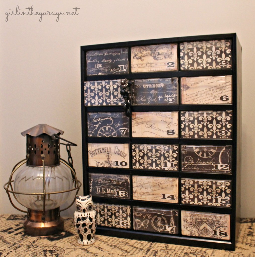 {Filthy to Fancy} Organizer Makeover.  A dirty hardware organizer gets a fancy French makeover.