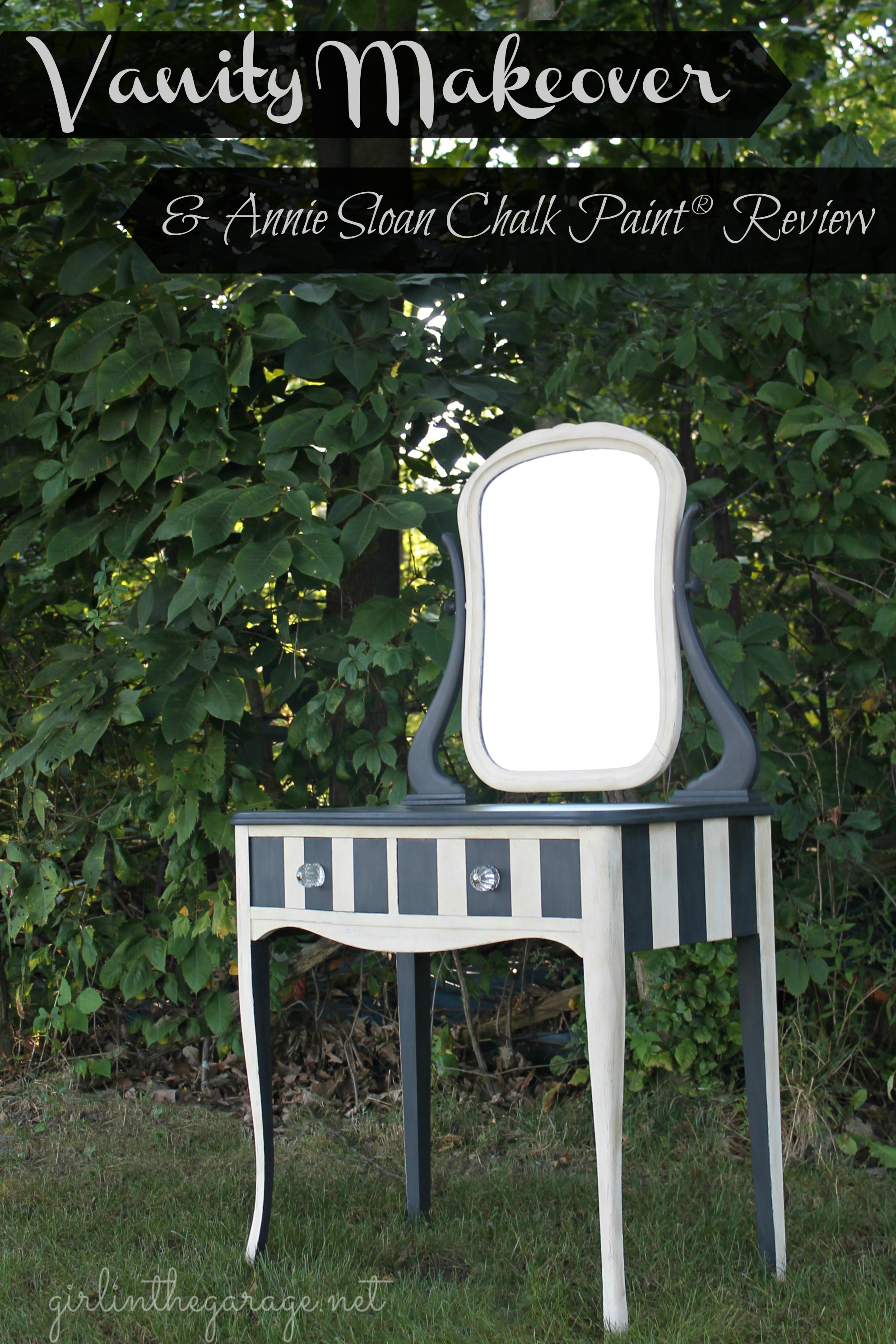 Gorgeous striped vintage vanity makeover with Annie Sloan Chalk Paint and wax. Also includes a review of Annie Sloan Chalk Paint products and advice.