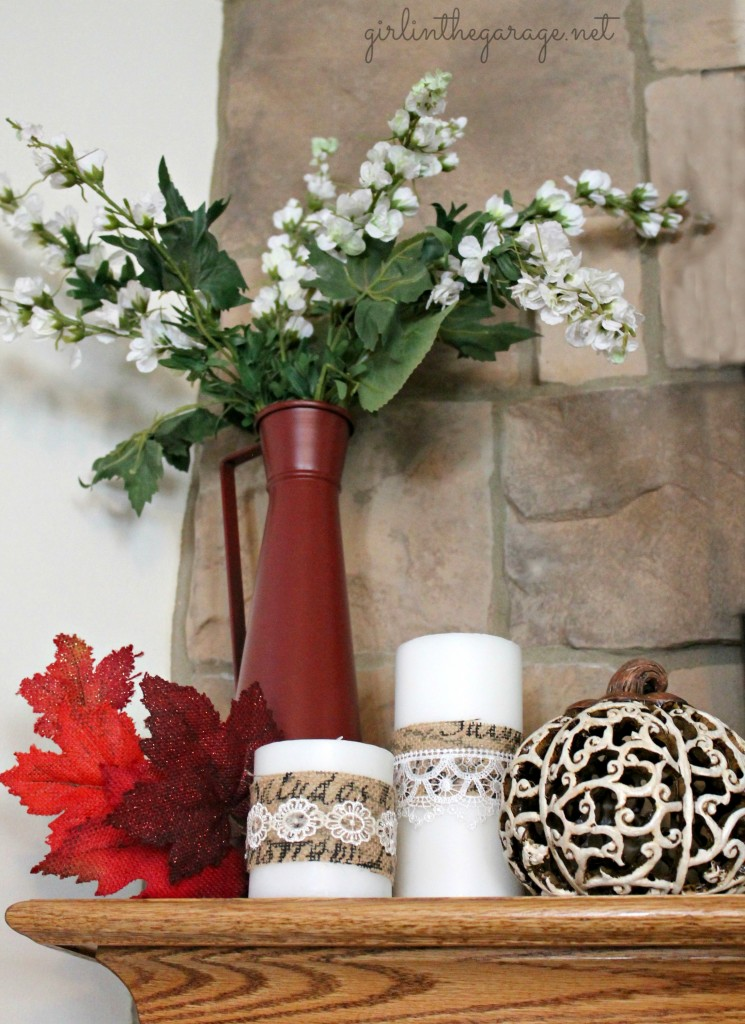 No-Sew Fall Runner and Candle Decor: Martha Stewart Decoupage I Girl in the Garage