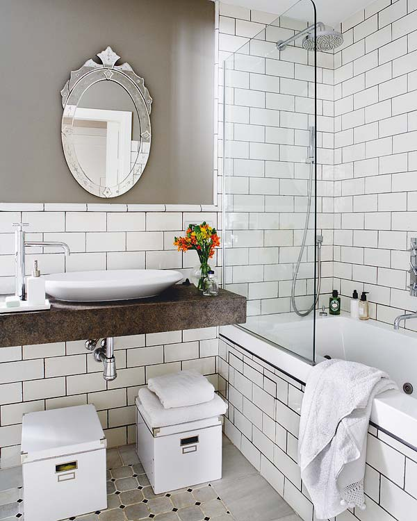12 absolutely beautiful bathrooms girl in the garager for Modern subway tile bathroom designs