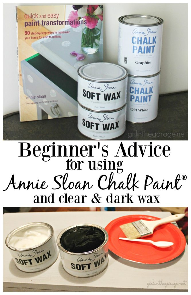 Beginner's advice for using Annie Sloan Chalk Paint and clear and dark wax.  Vanity makeover by Girl in the Garage