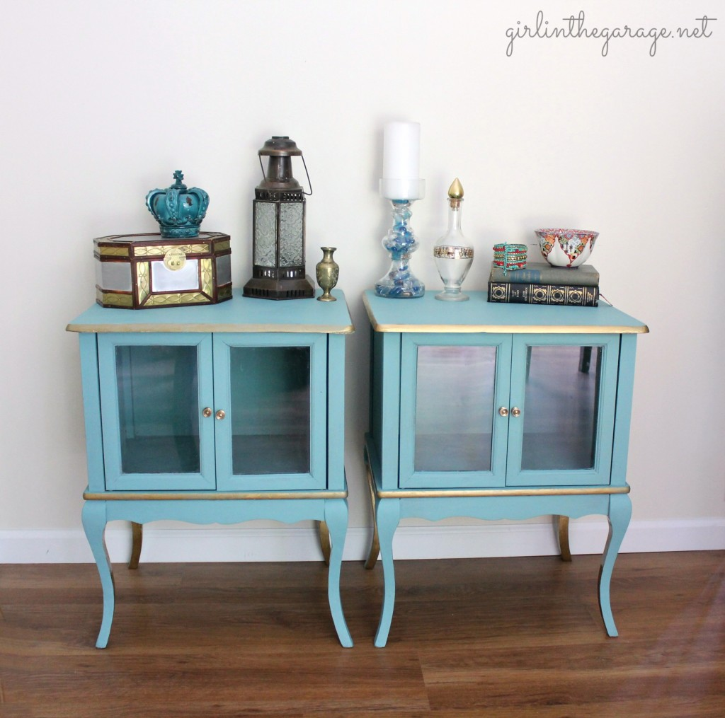 Provence and gold yard sale tables makeover - Girl in the Garage