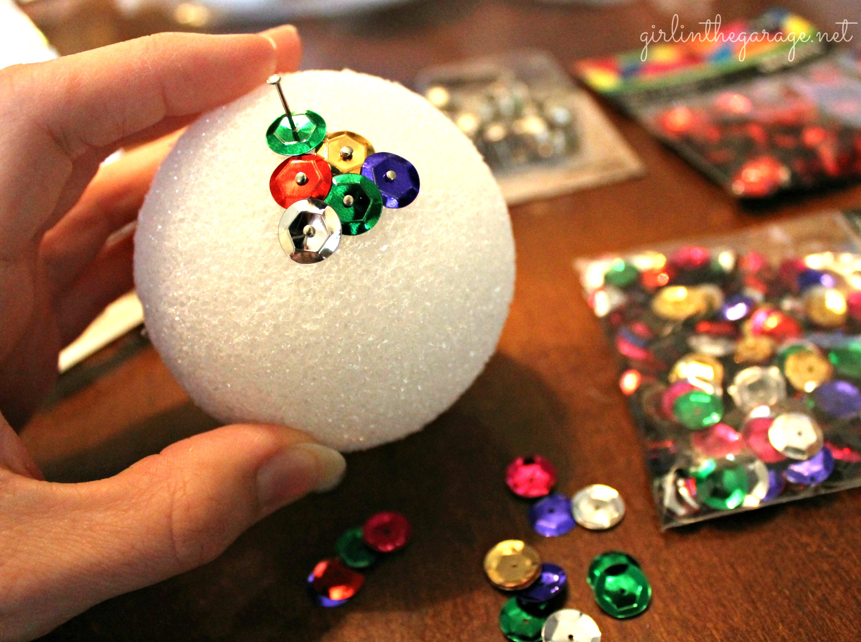 foam balls craft ideas diy sequin amp tack ornaments in the garage 174 4483
