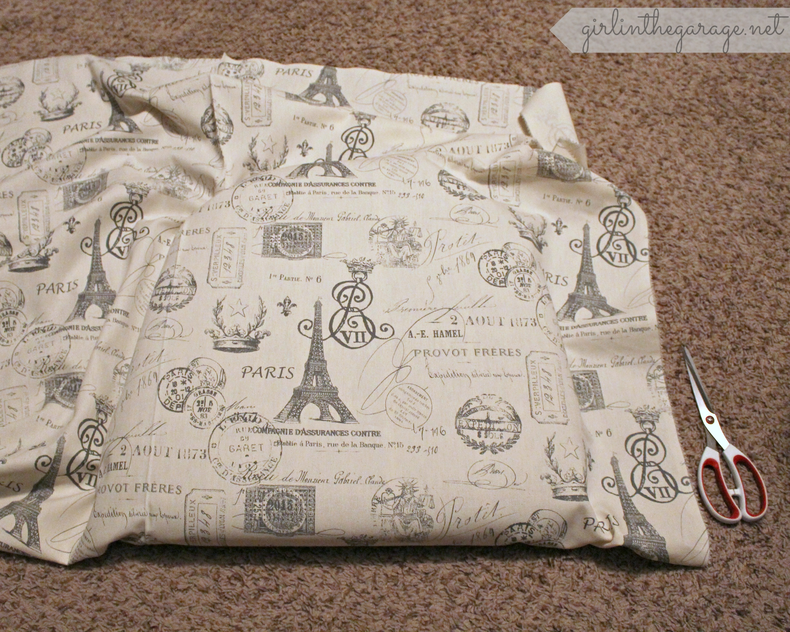 French chair makeover girl in the garage for Space themed fabric hobby lobby