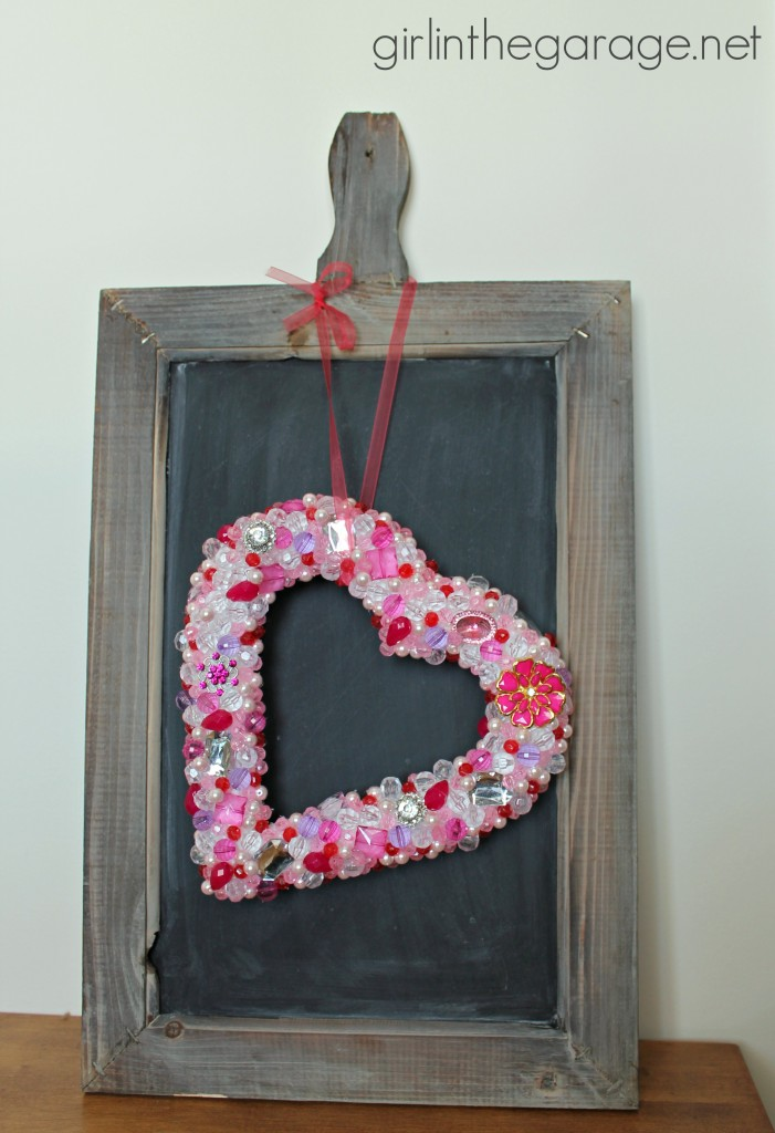Beaded Heart Wreath by Girl in the Garage
