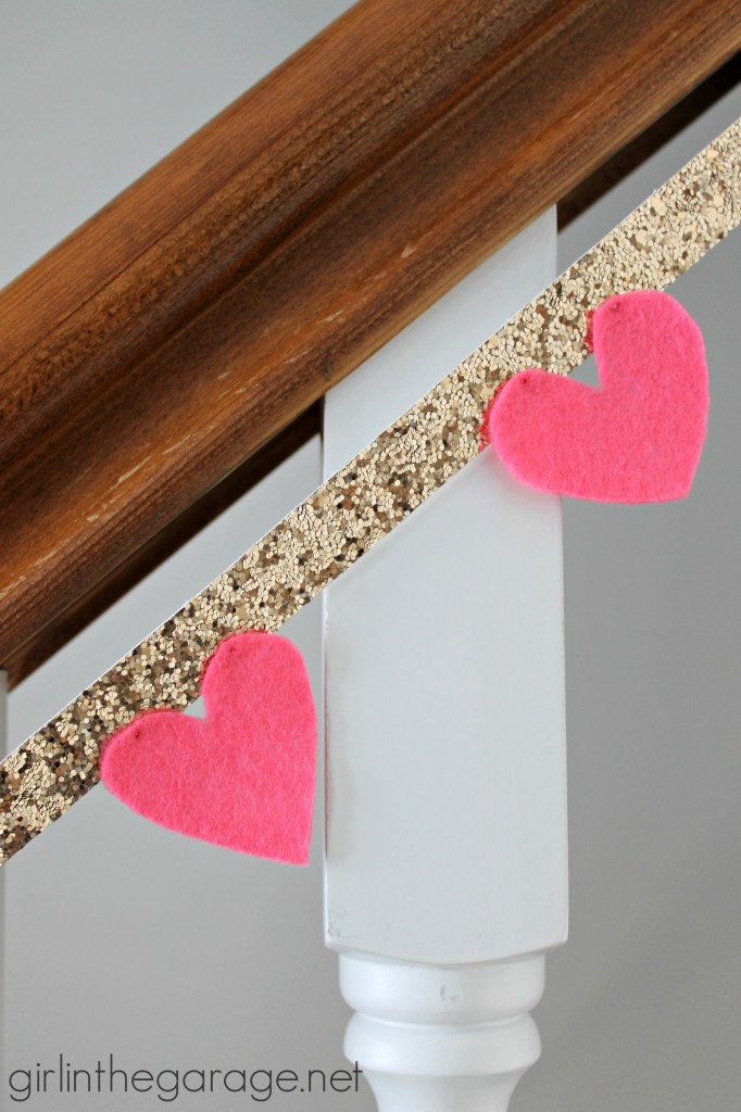 DIY Heart Glitter Garland I girlinthegarage.net
