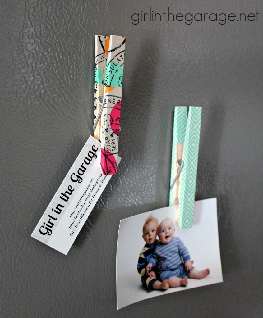 Washi tape chip clip magnets, as featured in the June 2014 issue of Woman's Day magazine!  girlinthegarage.net