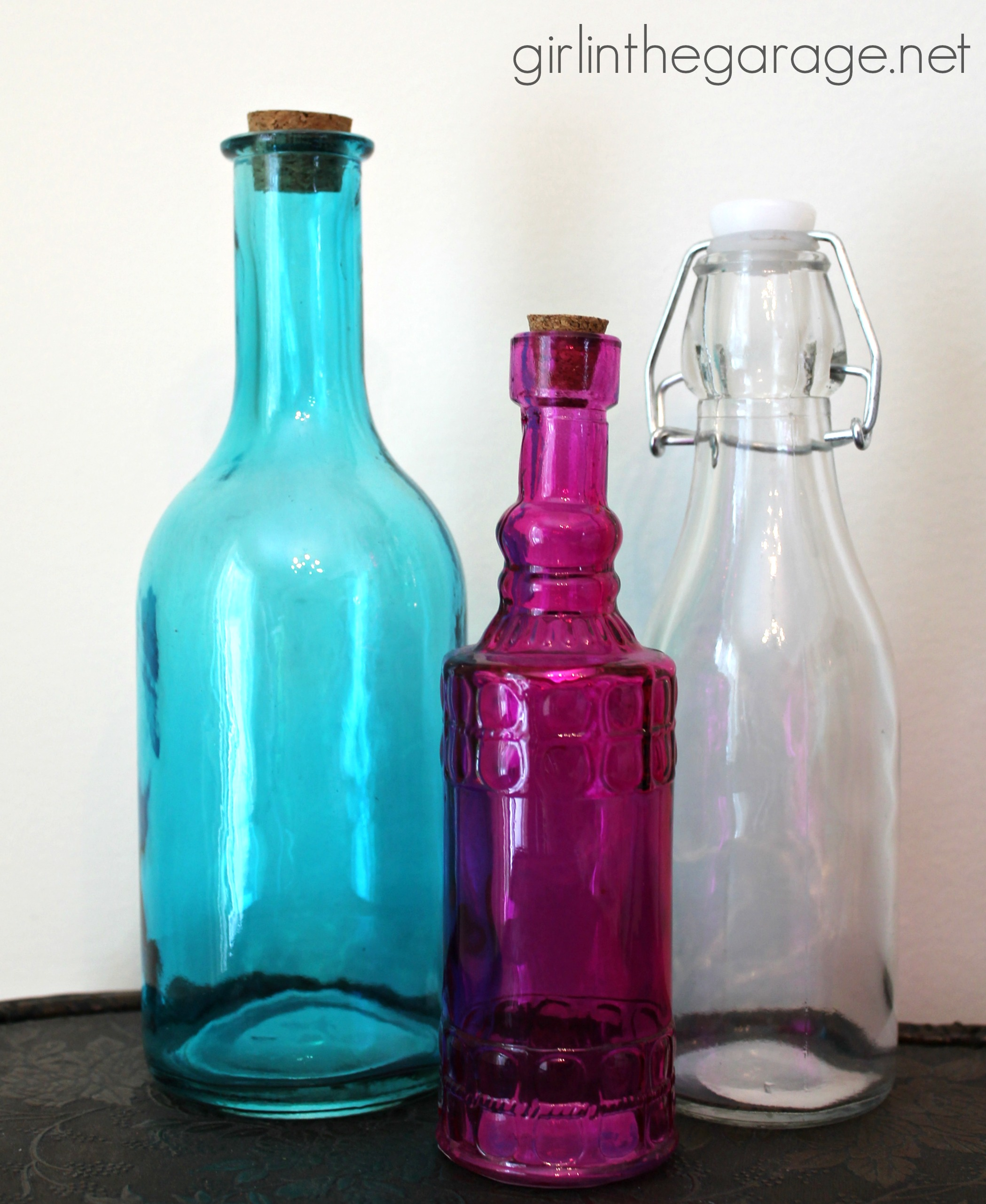 Bejeweled bottles michaels and hometalk pinterest party for Colored bottles for decorations