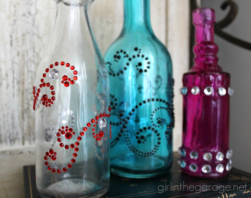 Bejeweled Bottles {Pinterest Inspired Craft from Michaels}
