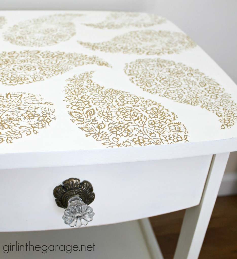Pretty in Paisley {Romance Themed Furniture Makeover}: A pair of plain tables gets a soft and pretty update with Chalk Paint and stenciling.  Plus, take a peek at all the other projects for the themed furniture makeover day.  girlinthegarage.net