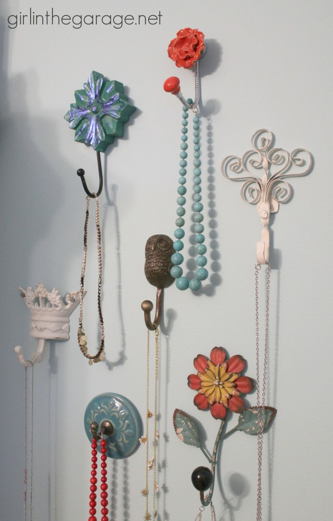 Decorative Wall Hooks as Jewelry Storage - girlinthegarage.net