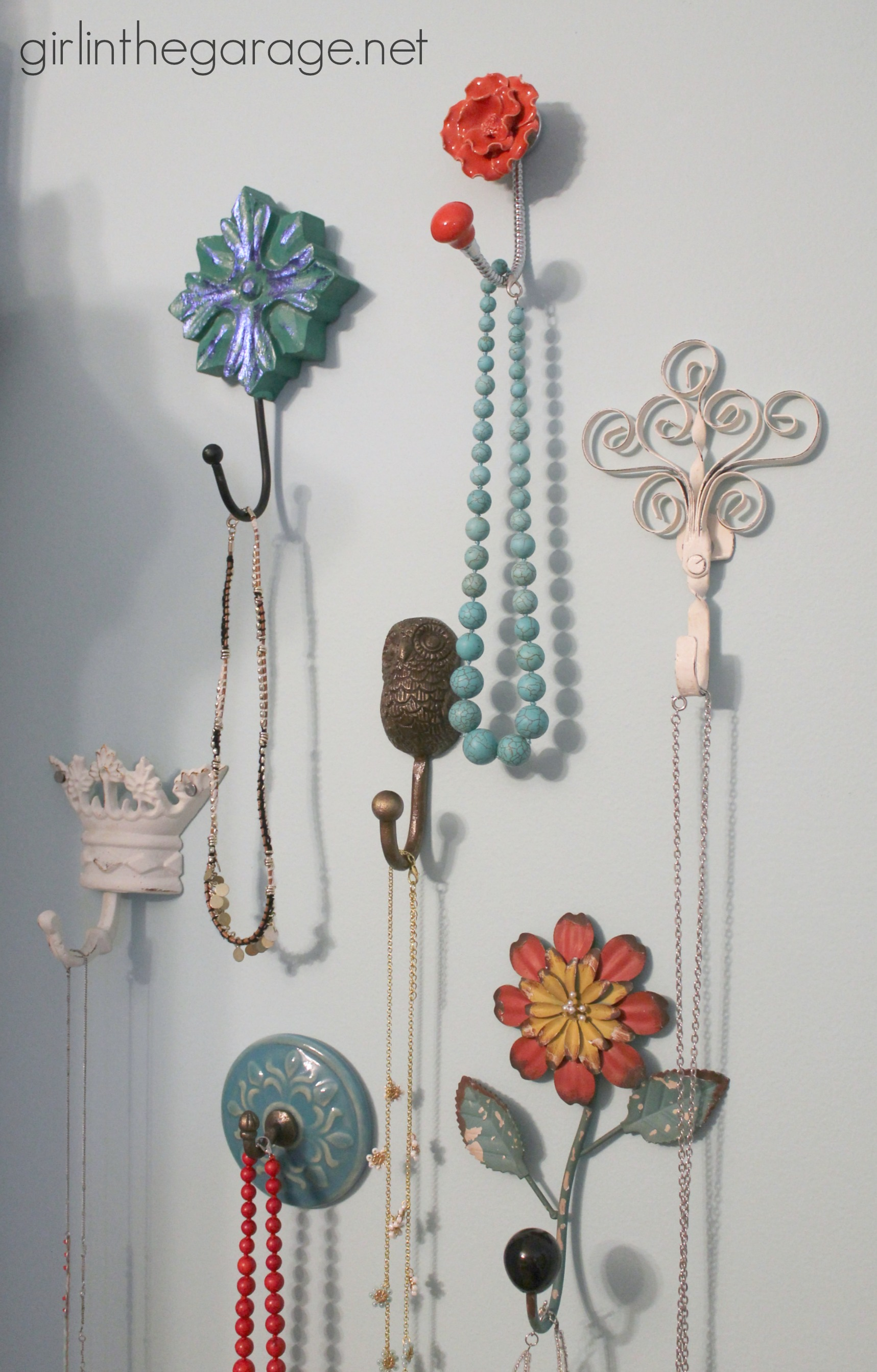 Decorative wall hooks as jewelry storage girl in the garage Hooks for the wall