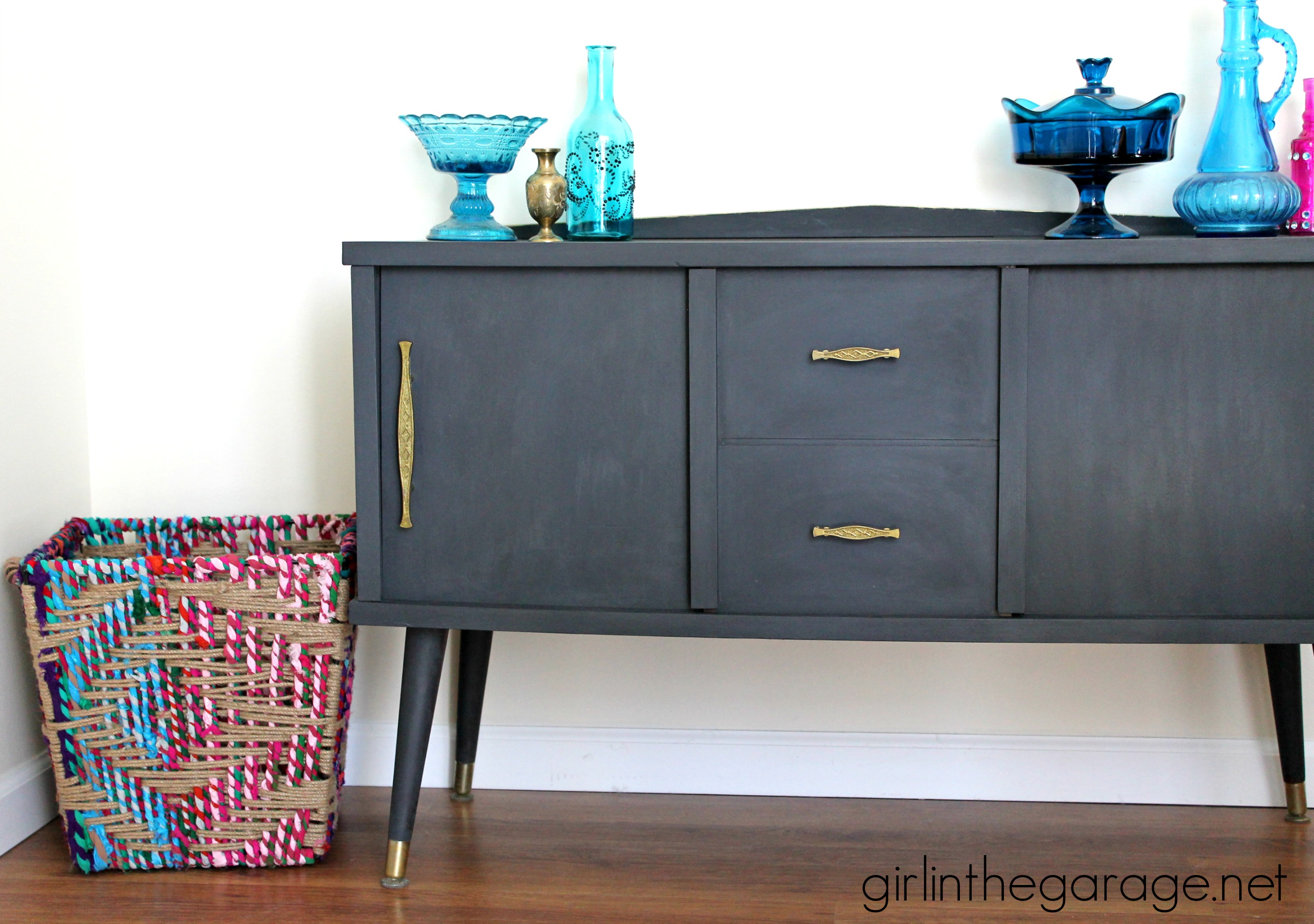 painted furniture makeover gold metallic. Midcentury Makeover With A Funky Surprise. Girlinthegarage.net Painted Furniture Gold Metallic
