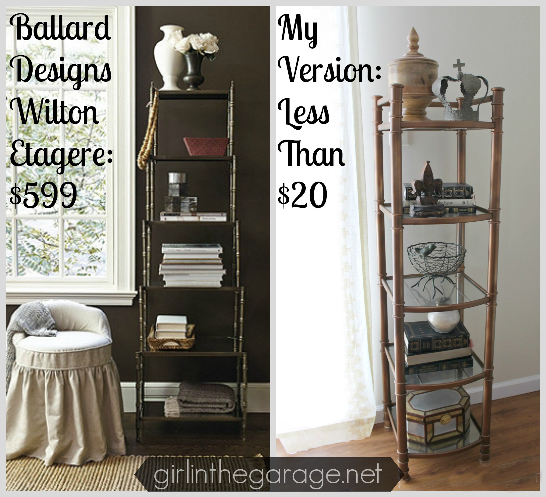 Ballard Designs Inspired Tower Makeover {Rock Your Knockoff Tour}  Girlinthegarage.net