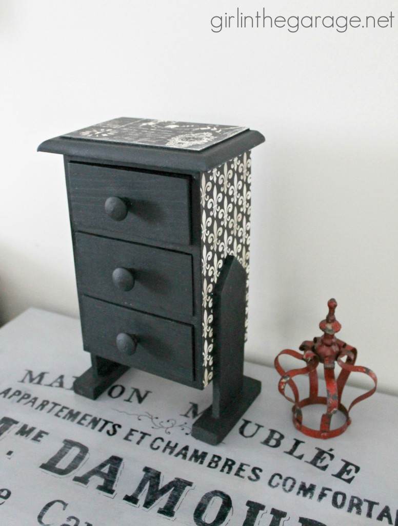 Trinket box makeover with paint and decoupage.  girlinthegarage.net
