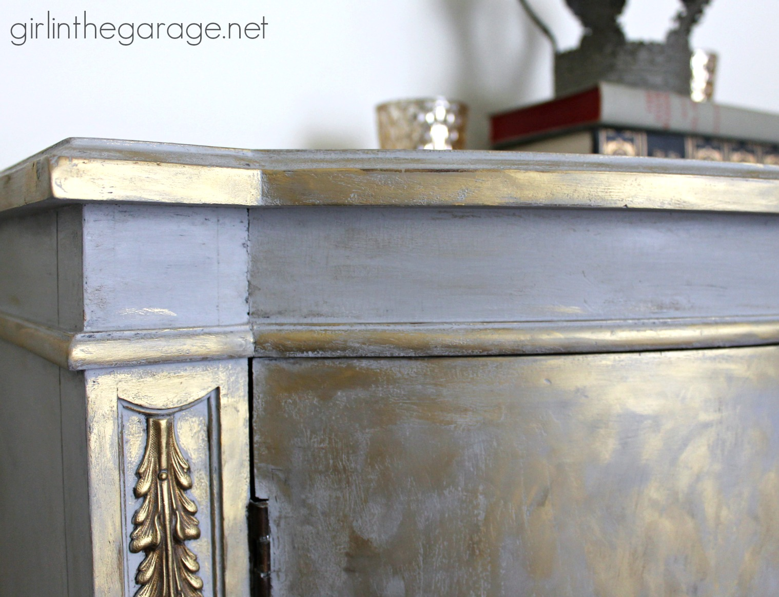 painted furniture makeover gold metallic. Gold And Gray Cabinet {Metallic Themed Furniture Makeover} - Girlinthegarage.net Painted Makeover Metallic