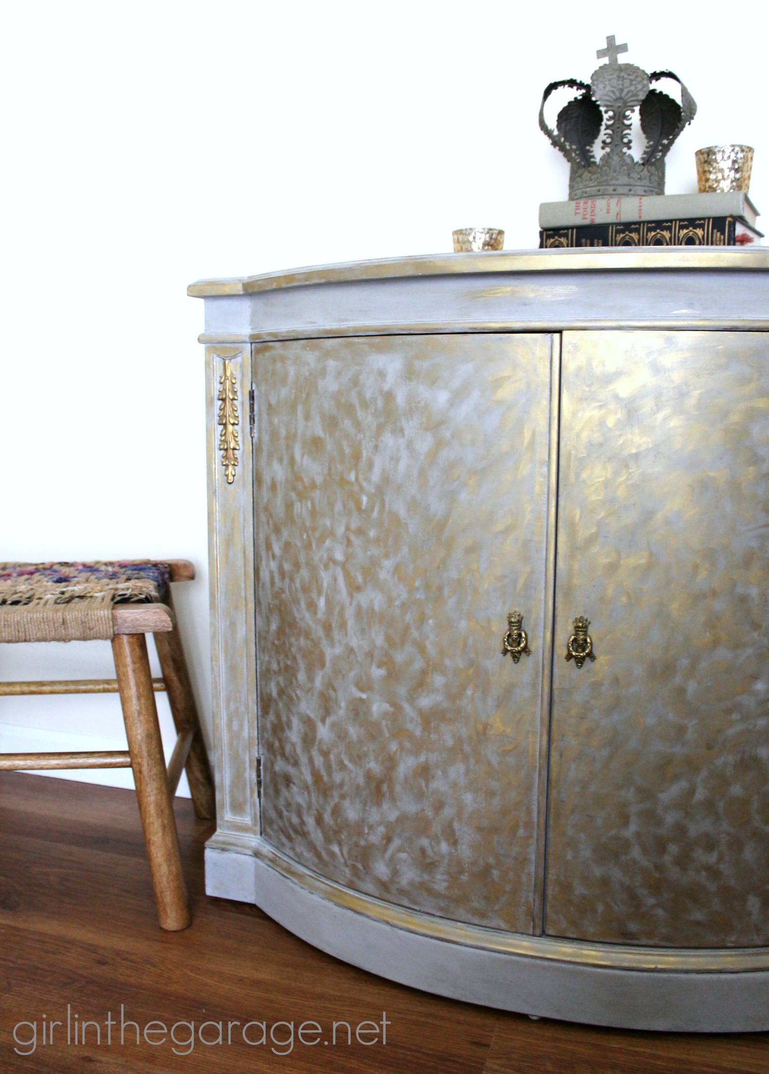 Gold And Gray Cabinet Metallic Themed Furniture Makeover