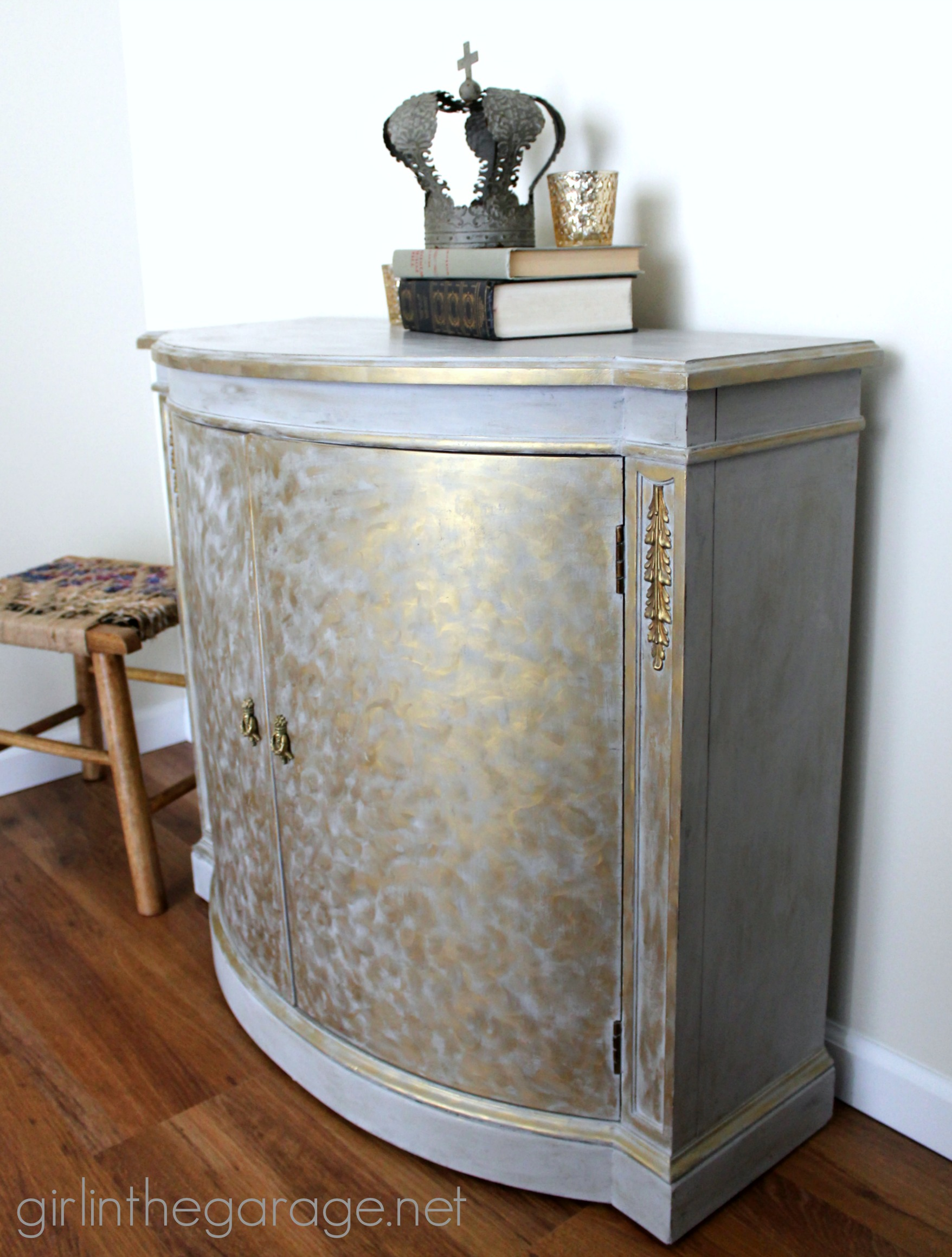 Grey And Gold Living Room Decor: Gold And Gray Cabinet {Metallic Themed Furniture Makeover