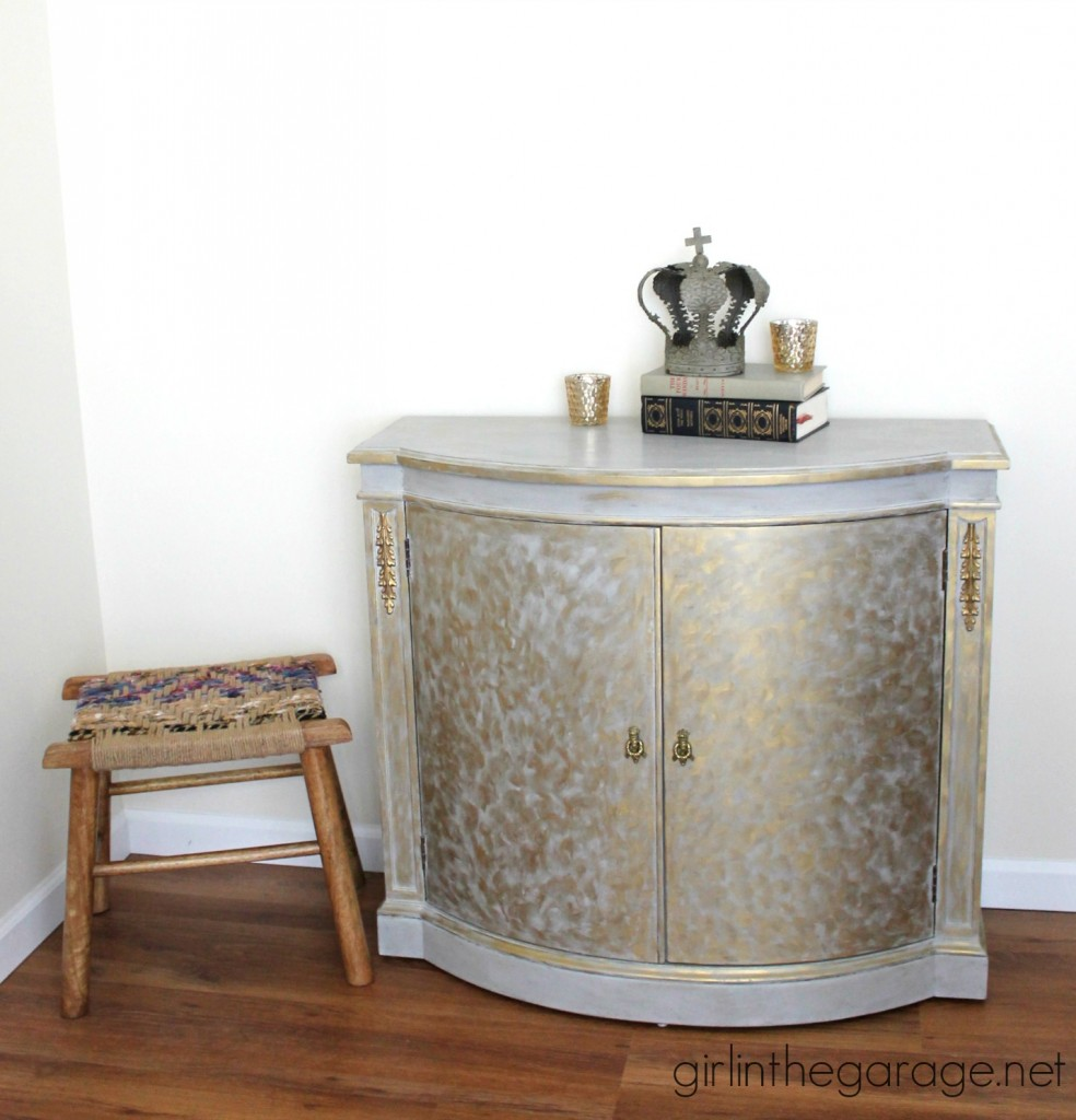 Gold and Gray Cabinet {Metallic Themed Furniture Makeover} - girlinthegarage.net