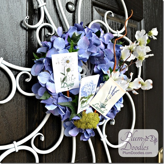 Hydrangea and Seed Packet Wreath - Plum Doodles