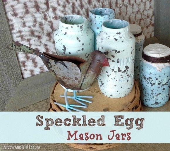 Speckled Egg Decoupage Mason Jars - StowandTellU