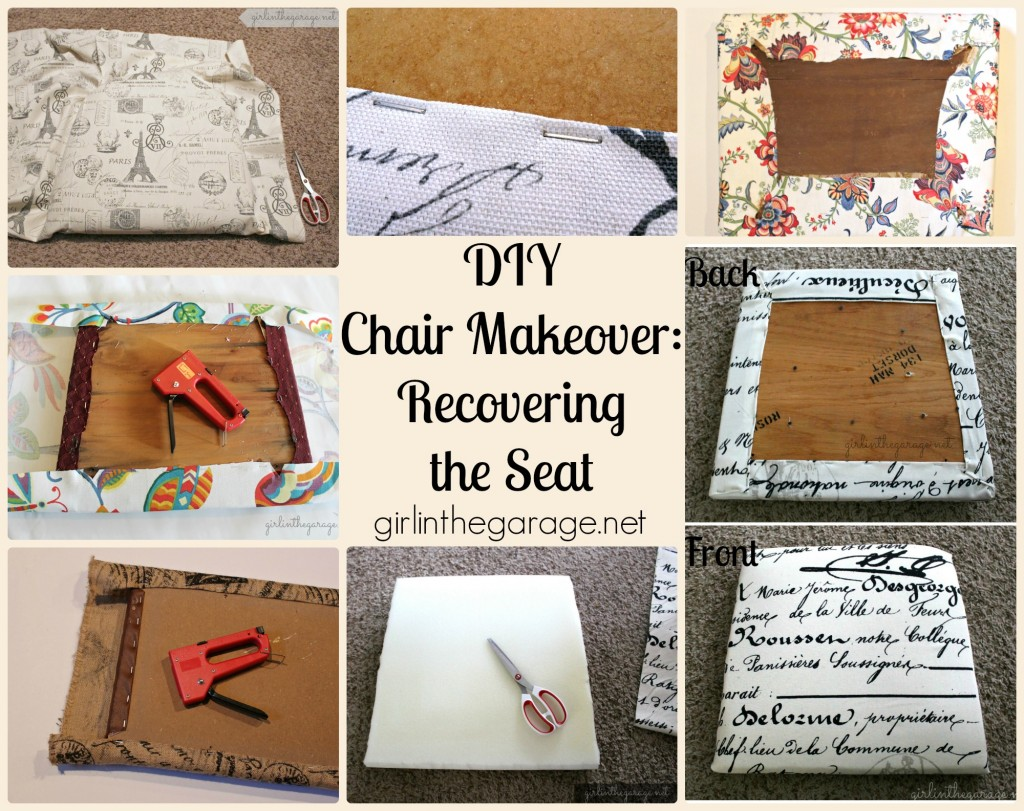 Chair Makeover: Recovering the seat.  girlinthegarage.net