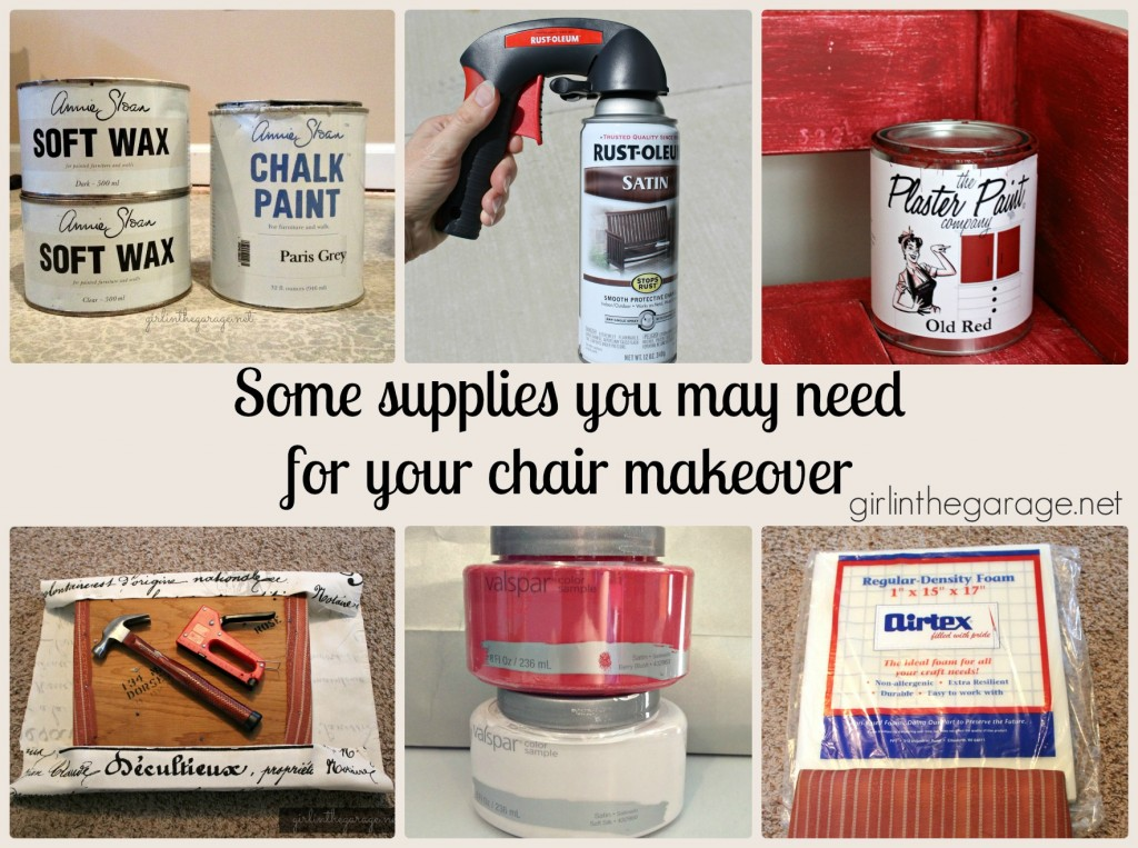 Supplies for a chair makeover.  girlinthegarage.net