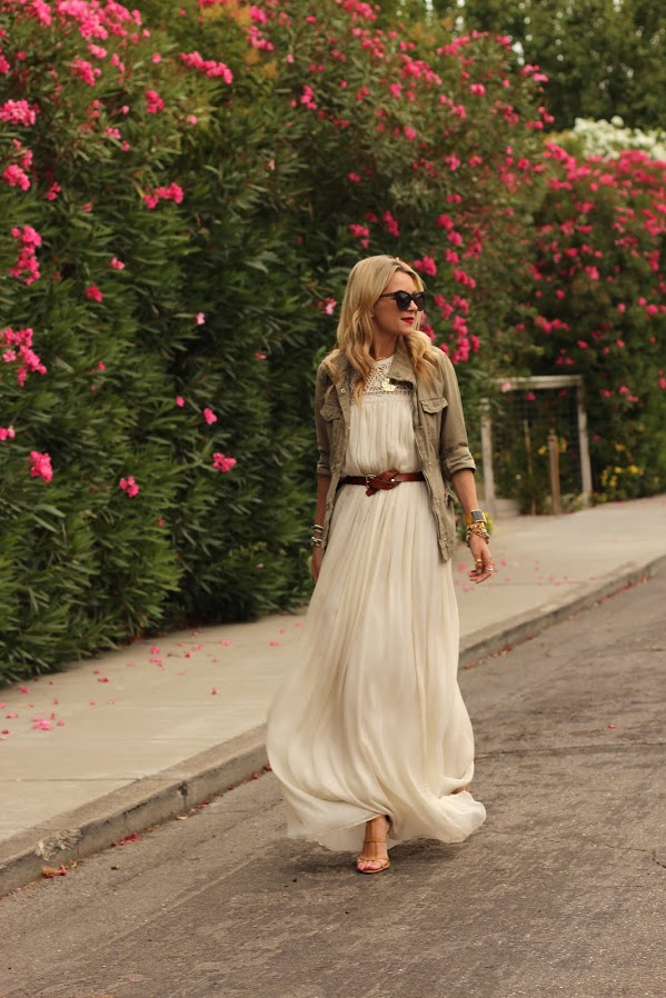 Atlantic-Pacific: Maxi dress with cargo jacket