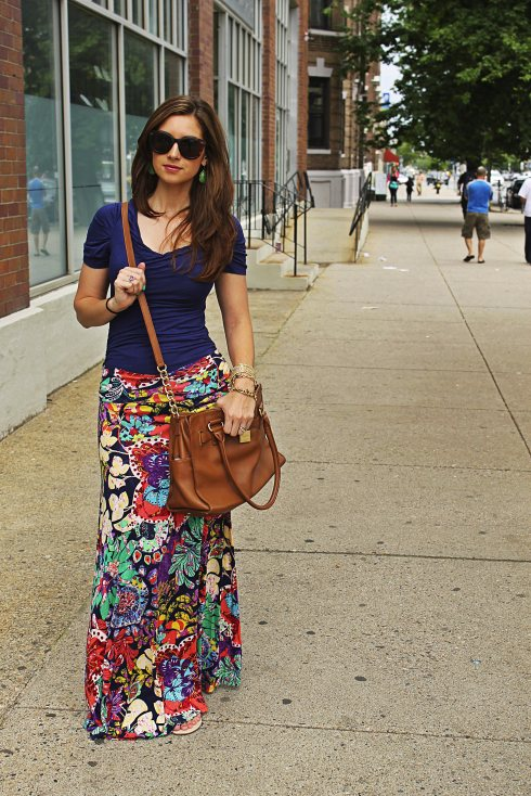La Mariposa floral maxi skirt and navy shirt