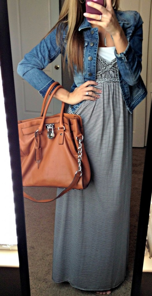 Striped Maxi Dress and Denim Jacket: All Things Katie Marie