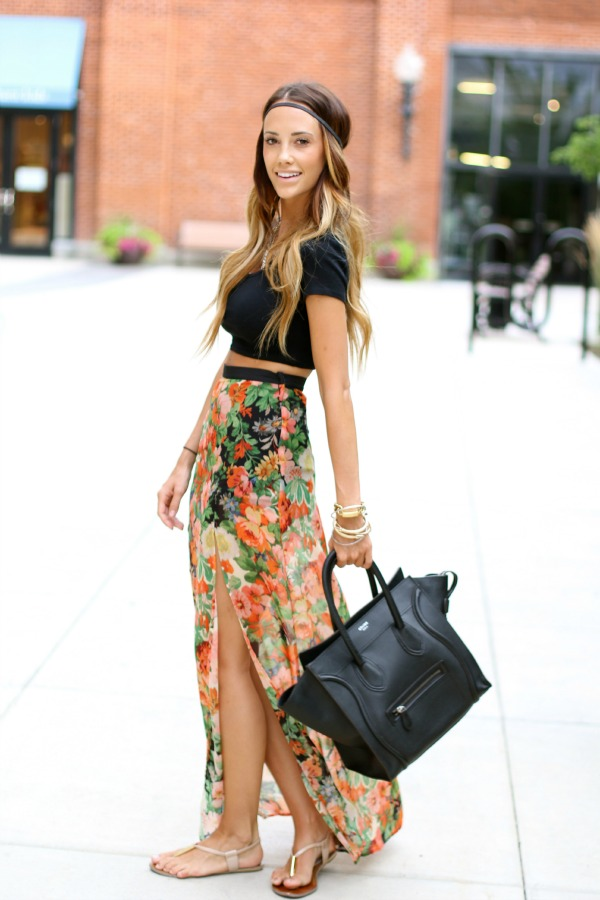 Styled Avenue - Floral maxi and crop top