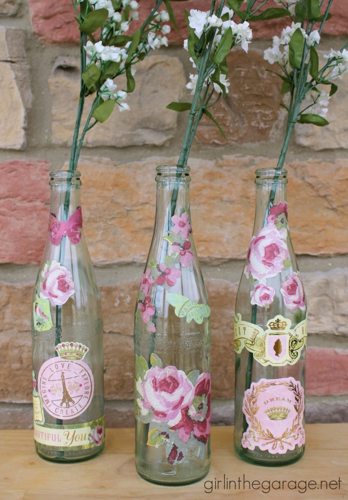 Decoupaged Bottles for Spring.  girlinthegarage.net.  Plus a coupon for $1 off All You and a giveaway for $50 gift card to Meijer!