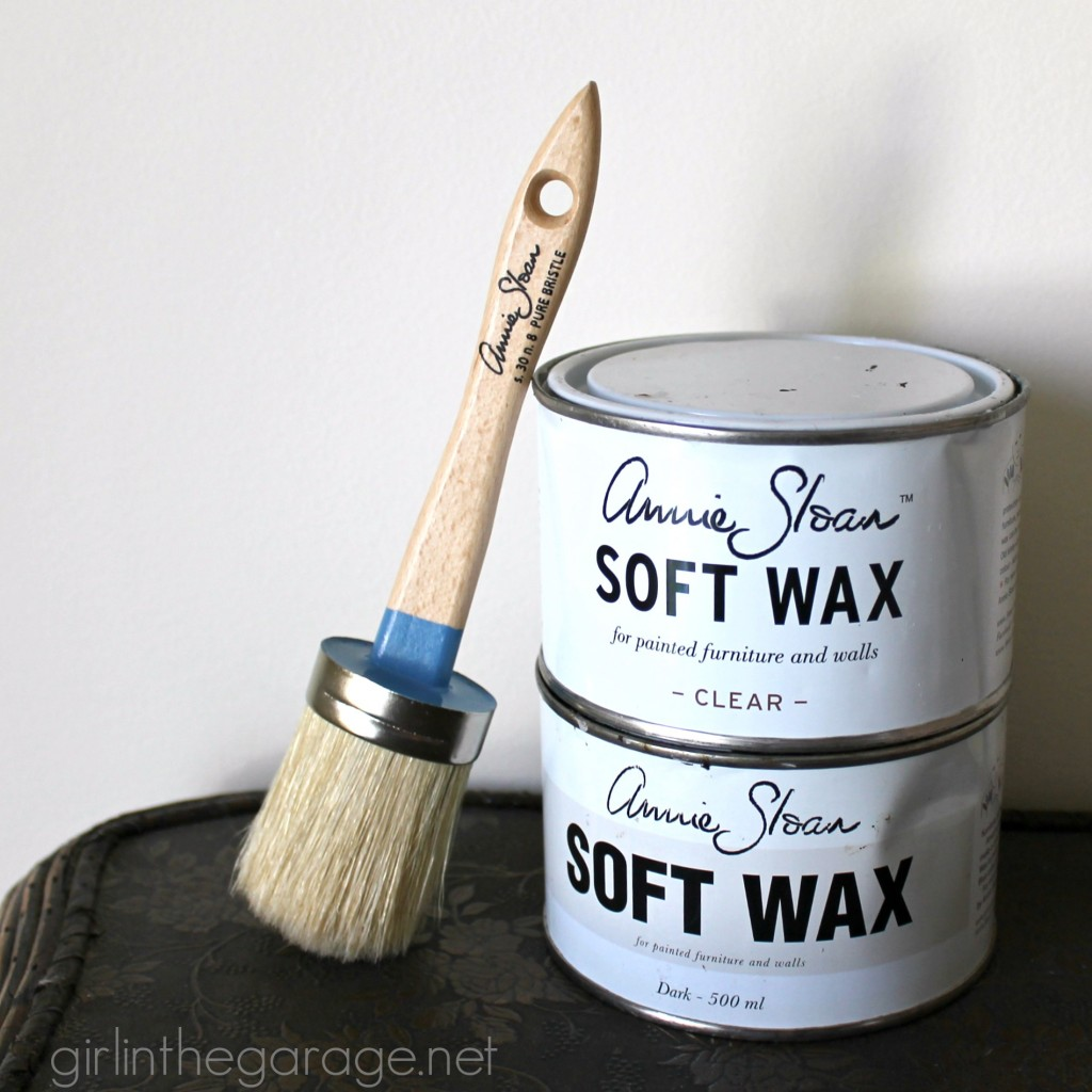 Nailhead vanity makeover and Annie Sloan wax brush review. By Girl in the Garage
