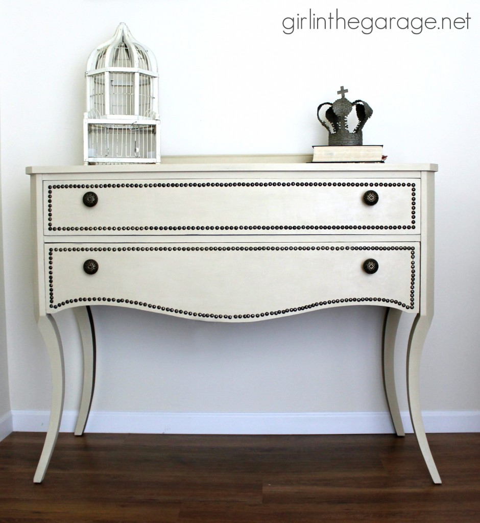 Annie Sloan Chalk Paint vanity makeover in Old Ochre with nailhead trim and a review of the Annie Sloan wax brush.  girlinthegarage.net