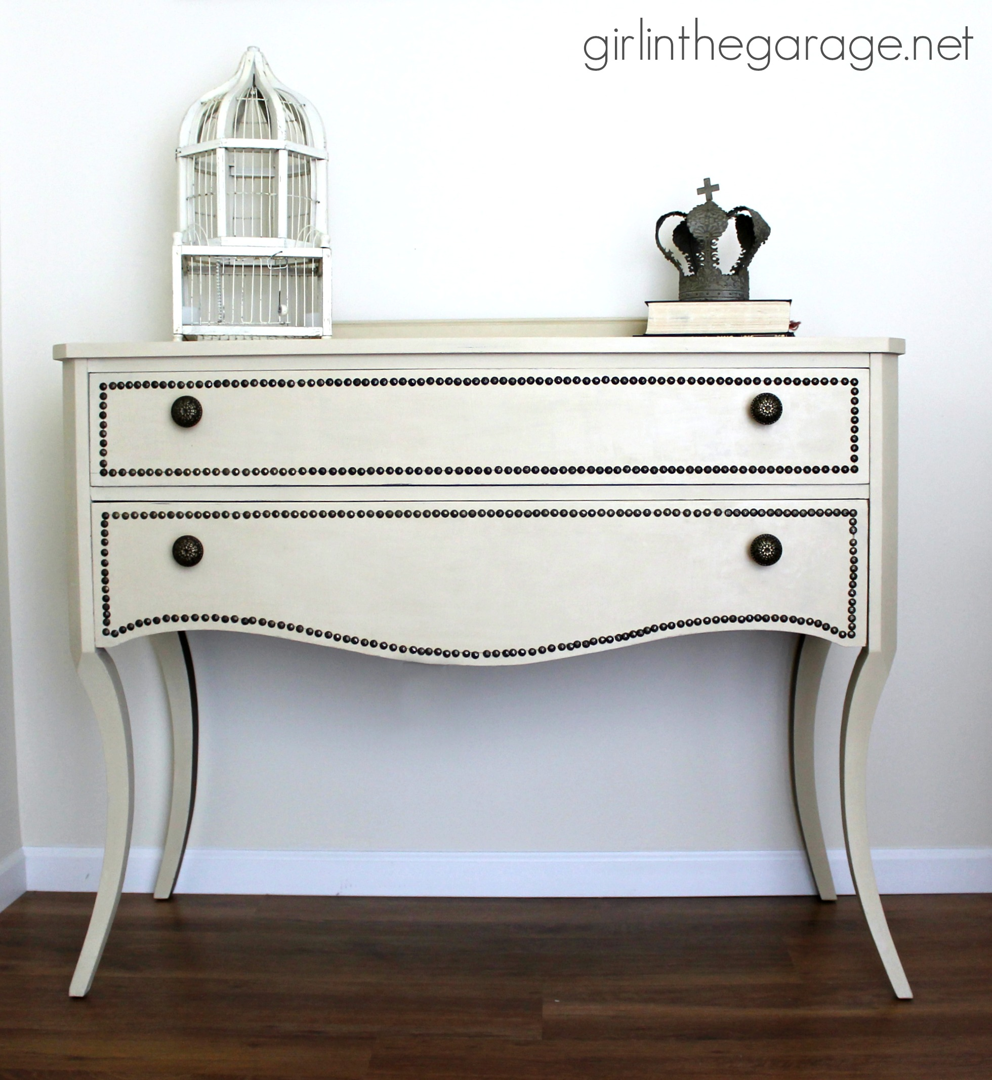 Buffet console table makeover with nailheads and Chalk Paint - Girl in the Garage