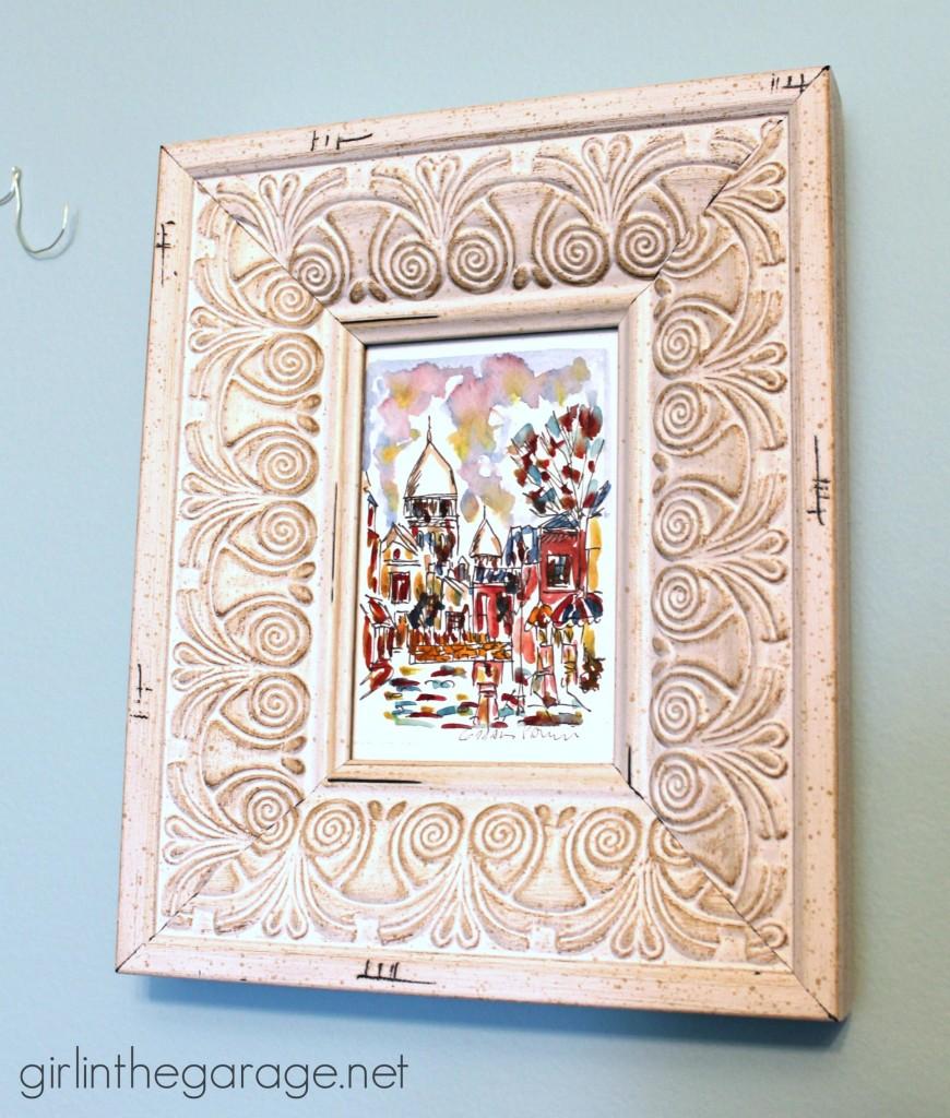 "DIY Wall Art: Framed Paris Prints and Anthropologie-Inspired ""Bonjour"" Wire Script.  girlinthegarage.net"